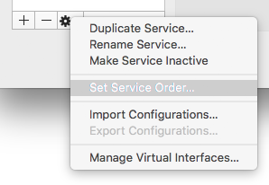 the network adapter configuration menu with 'Set Service Order...' highlighted